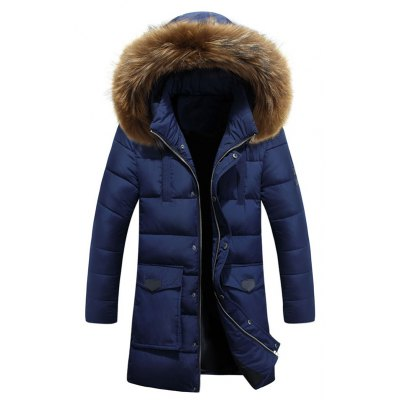 Applique Quilted Coat with Fur Hood