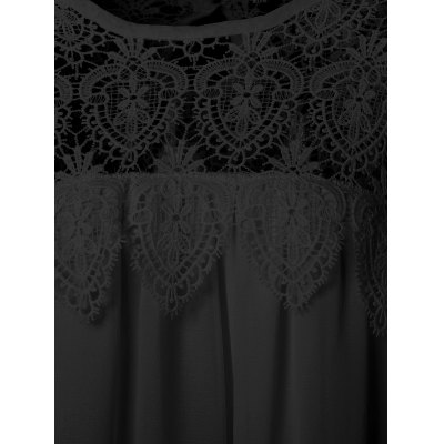 Eyelash Lace Splicing Asymmetrical DressPlus Size Dresses<br>Eyelash Lace Splicing Asymmetrical Dress<br><br>Style: Casual<br>Material: Lace,Polyester<br>Fabric Type: Chiffon<br>Silhouette: Asymmetrical<br>Dresses Length: Mini<br>Neckline: Round Collar<br>Sleeve Length: Short Sleeves<br>Pattern Type: Patchwork<br>With Belt: No<br>Season: Summer<br>Weight: 0.244kg<br>Package Contents: 1 x Dress