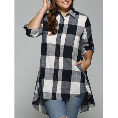 High Low Plaid Print Plus Size Shirt