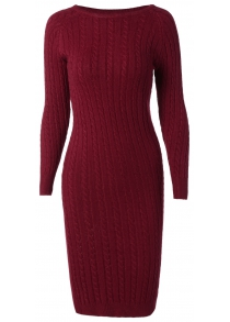 Long Sleeve Cable Knit Bodycon Sweater Dress