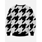 cheap Long Sleeve Houndstooth Crew Neck Black and White Sweatshirt
