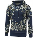 3D Floral and Birds Painting Print Hooded Long Sleeve Hoodie