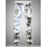 cheap Slim Fit All Over Flower Printed White Jeans