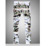 Slim Fit All Over Flower Printed White Jeans