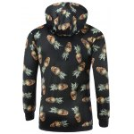 cheap Hooded 3D Abstract Pineapple Skull Print Long Sleeve Hoodie