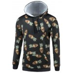 Hooded 3D Abstract Pineapple Skull Print Long Sleeve Hoodie