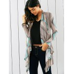 cheap Tribal Print Asymmetrical Cardigan