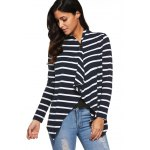 cheap Asymmetrical Striped Cardigan