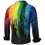 cheap Colorful Paint Dripping Print Covered Button Front Long Sleeve Shirt