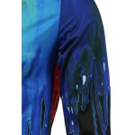 Colorful Paint Dripping Print Covered Button Front Long Sleeve Shirt deal