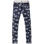 cheap Zipper Fly Pocket Rivet Printed Casual Pants