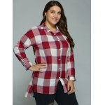 Plus Size High-Low Checked Long Shirt for sale