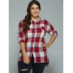 cheap Plus Size High-Low Checked Long Shirt