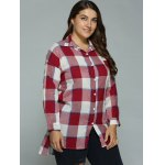 Plus Size High-Low Checked Long Shirt deal