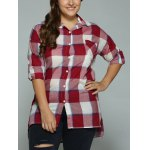 Plus Size High-Low Checked Long Shirt