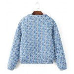 cheap Quilted Floral Print Jacket