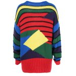 cheap Geometrical Color Block Striped Pullover Sweater