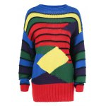 Geometrical Color Block Striped Pullover Sweater