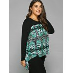 Plus Size Abstract Pattern Asymmetrical Blouse deal