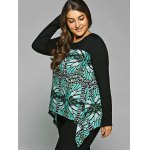 Plus Size Abstract Pattern Asymmetrical Blouse for sale