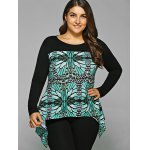cheap Plus Size Abstract Pattern Asymmetrical Blouse