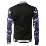 cheap 3D Camouflage Warplanes Print Stripe Splicing Stand Collar Jacket