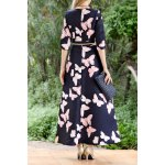 cheap Butterfly Print Maxi A Line Dress