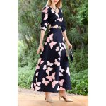 best Butterfly Print Maxi A Line Dress