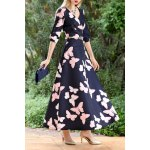 Butterfly Print Maxi A Line Dress for sale