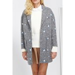 Embroidered Lapel Wool Blend Coat
