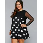 Plus Size Polka Dot Mesh Sleeve A-Line Dress deal
