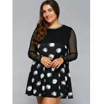 cheap Plus Size Polka Dot Mesh Sleeve A-Line Dress