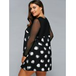 best Plus Size Polka Dot Mesh Sleeve A-Line Dress