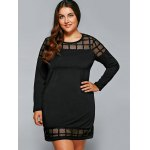 cheap Plus Size Mesh Splicing Gingham Dress
