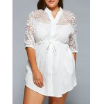 Lace Spliced V-Neck 3/4 Sleeve Plus Size Self-Tie Blouse