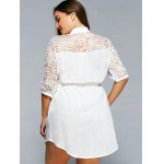 best Lace Spliced V-Neck 3/4 Sleeve Plus Size Self-Tie Blouse