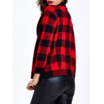 Collarless Plaid Slimming Cardigan for sale
