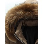 cheap Applique Quilted Coat with Fur Hood