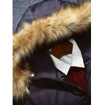 Multi-Pocket Quilted Coat with Fur Hood deal