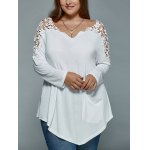 cheap Plus Size Lace Spliced Asymmetric T-Shirt