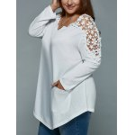 Plus Size Lace Insert Long Sleeve Tunic T-Shirt deal