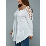 Plus Size Lace Insert Long Sleeve Tunic T-Shirt for sale
