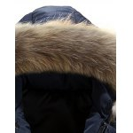 cheap Zipper Button Quilted Coat with Fur Hood