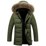 Buy Zipper Button Quilted Coat Fur Hood M ARMY GREEN