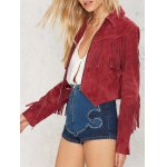 Cropped Tasselled Faux Suede Jacket deal
