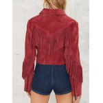 cheap Cropped Tasselled Faux Suede Jacket