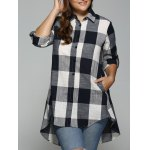 Plaid Print High Low Plus Size Shirt