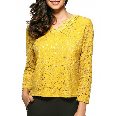 Openwork Floral Lace Blouse