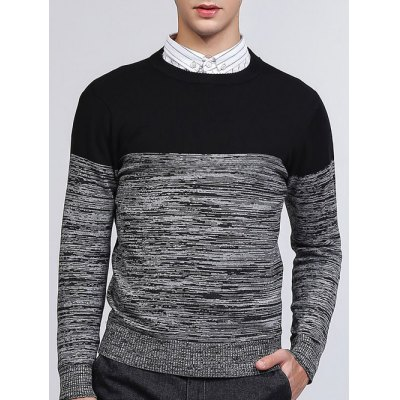 Crew Neck Color Block Splicing Knit Blends Sweater