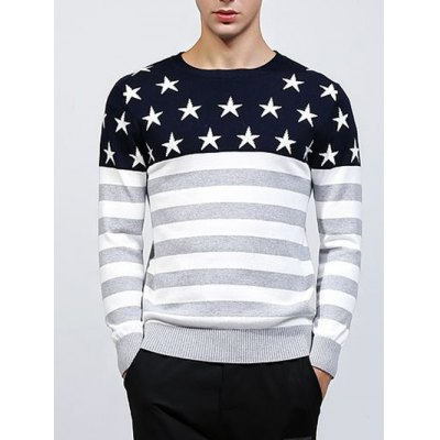 Crew Neck Star and Stripe Splicing Knitting Sweater
